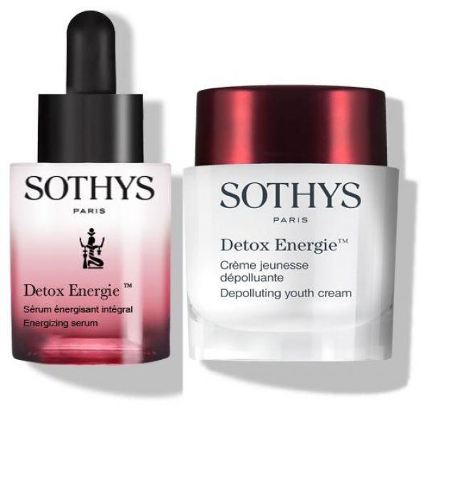Sérum Detox Energie Sothys, cuentagotas 30 ml (formato y tamaño original).     Crème Detox Energie Sothys, tarro 50 ml (formato y tamaño original).